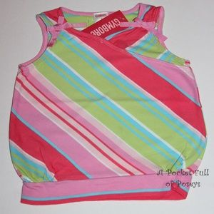 Island Fun Gymboree Girls Top Striped Bow Tank NWT